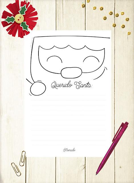 carta para escribir a Santa Claus Papá Noel de monerias en fieltro pamonisimayo freebie