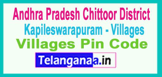 East Godavari District Kapileswarapuram Mandal and Villages Pin Codes in Andhra Pradesh State