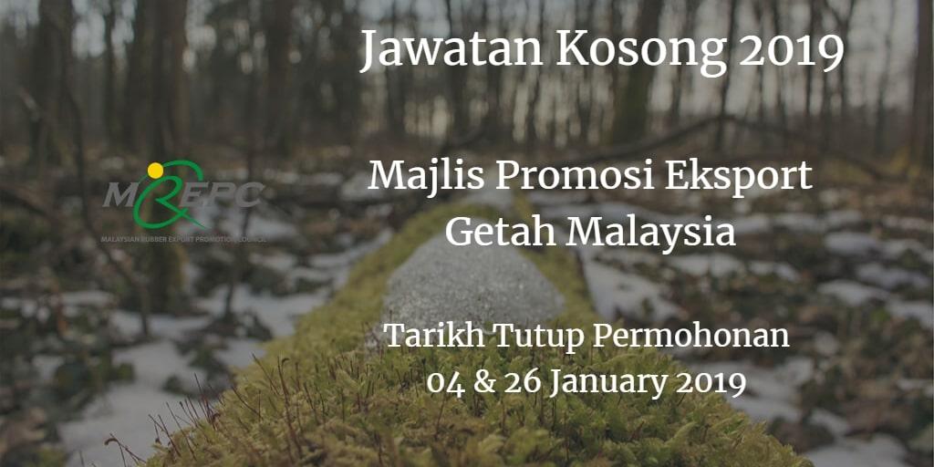 Jawatan Kosong MREPC 04 & 26 January  2019
