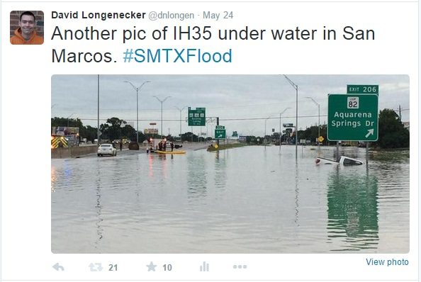 Interstate 35 in San Marcos under water