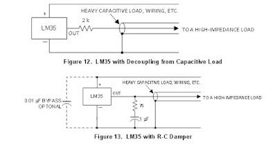 Fig. 9 - Consigli su come collegare l' LM35 con cavetto schermato - Fonte datasheet T.I.