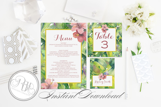 tropical island watercolour menu place cards card template by rbh designer concepts