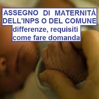 differenze tra l'assegno di maternità dell'inps e del comune