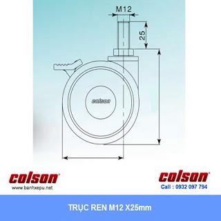 Bánh xe đẩy đa năng y tế Colson Mỹ phi 75 có khóa kép | CGT7554BK