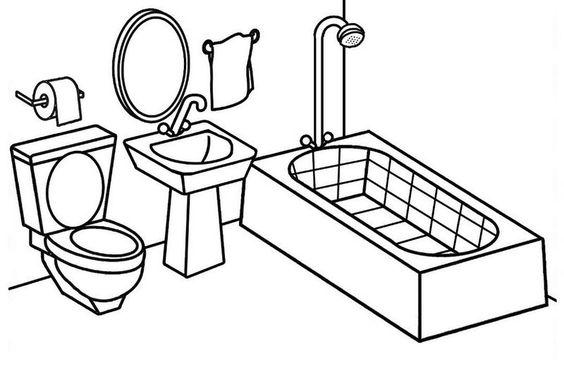 Tranh tô màu phòng tắm đơn giản