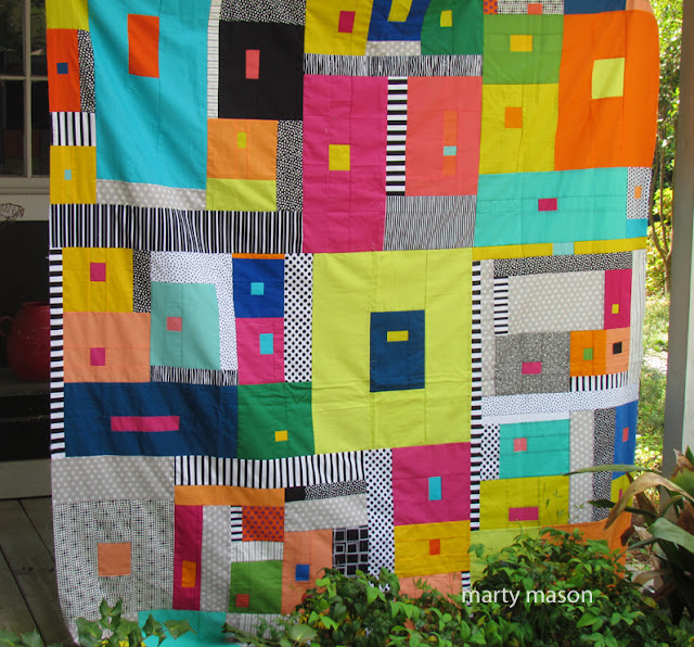 Peach Festival Raffle Quilt 2018 -improvisational - designed and pieced by Marty Mason