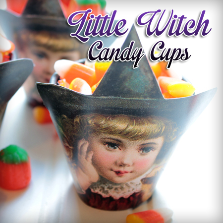 Little Witch candy cups from Graphics Fairy are a cute easy DIY for the kids to help with