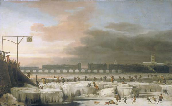 The Frozen Thames, Looking Eastwards towards Old London Bridge, London (1677)  by Abraham Hondius (1625–1691)