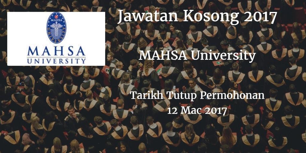 Jawatan Kosong MAHSA University 12 Mac 2017
