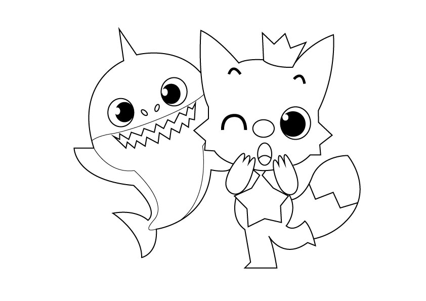 Baby Shark Coloring Pages For Kids Sketch Coloring Page