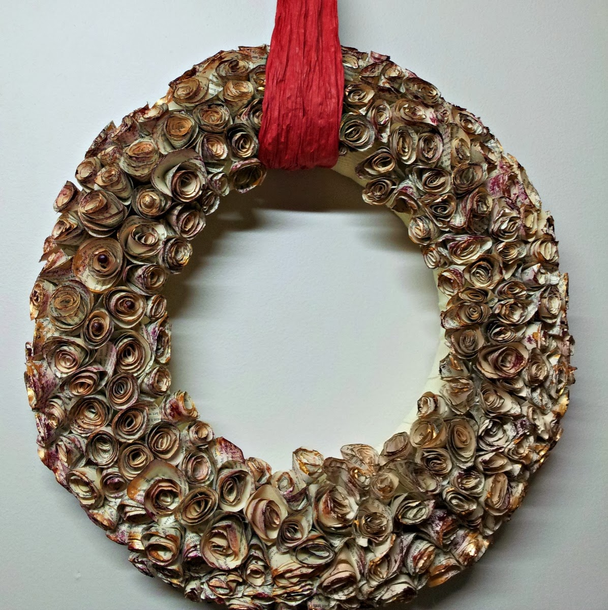 Spiral Paper Rose Wreath