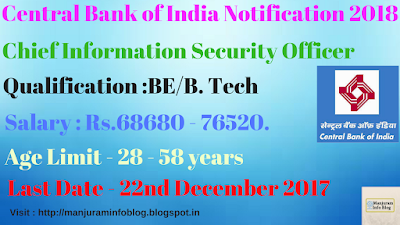 Central Bank of India Recruitment 2018 - Apply for Chief Information Security Officer