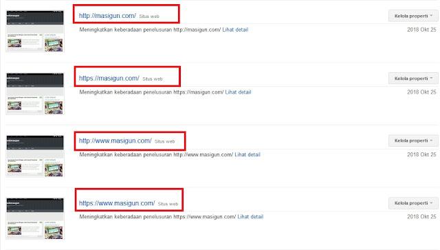 Tambahkan Semua Versi URL Pada Google Search Console