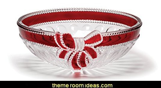 Ruby Ribbon Crystal Serving Bowl