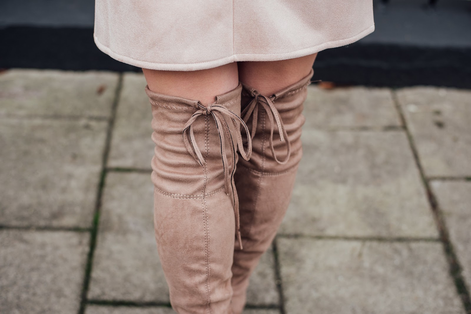 Close Up Detail Shot of Brand Attic Beige Over the Knee Boots with Tie Back