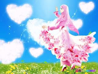 kartun muslimah cantik berhijab pink