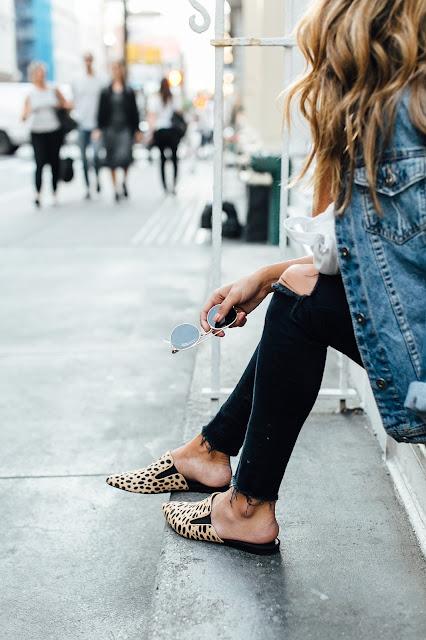 how to wear slides mules, styling leopard shoes, j brand denim, ysl blogger bag