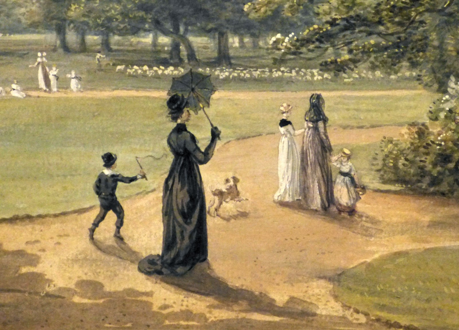 Detail from The garden of the deputy ranger's lodge,  Windsor Great Park by Paul Sandby (c1798)