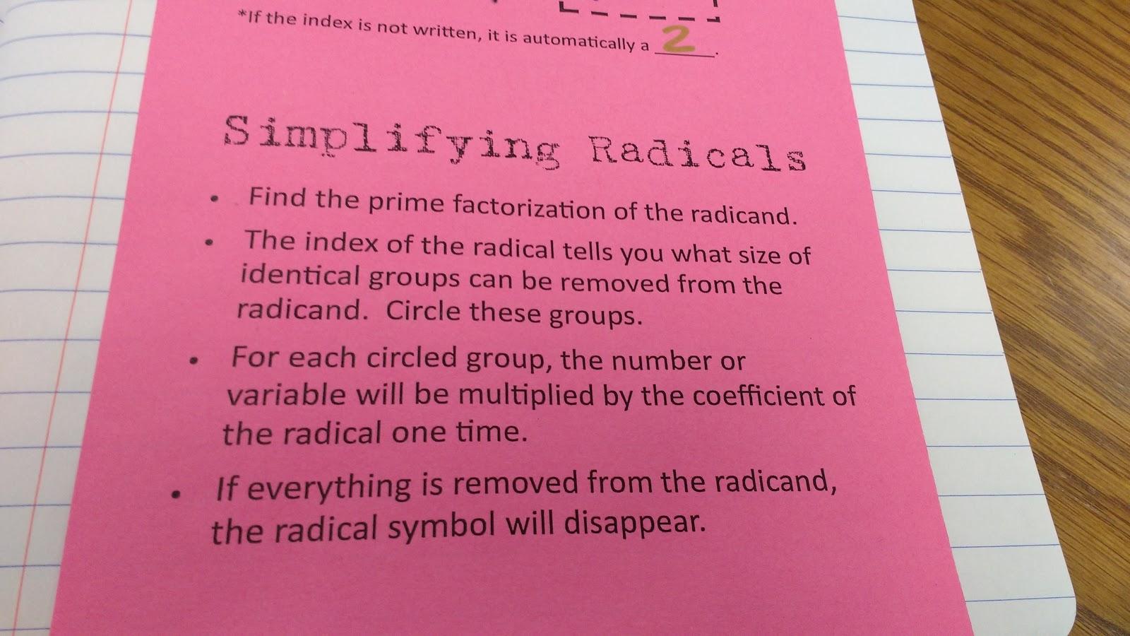 Math Love Trig Simplifying Radicals And Rationalizing