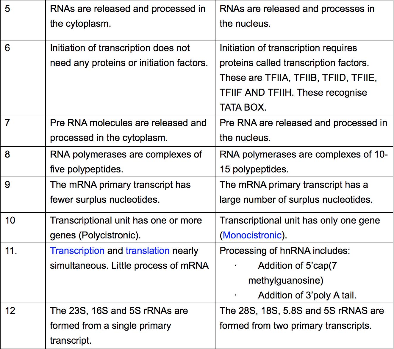Biology Review Transcription In Eukaryotes And Prokaryotes