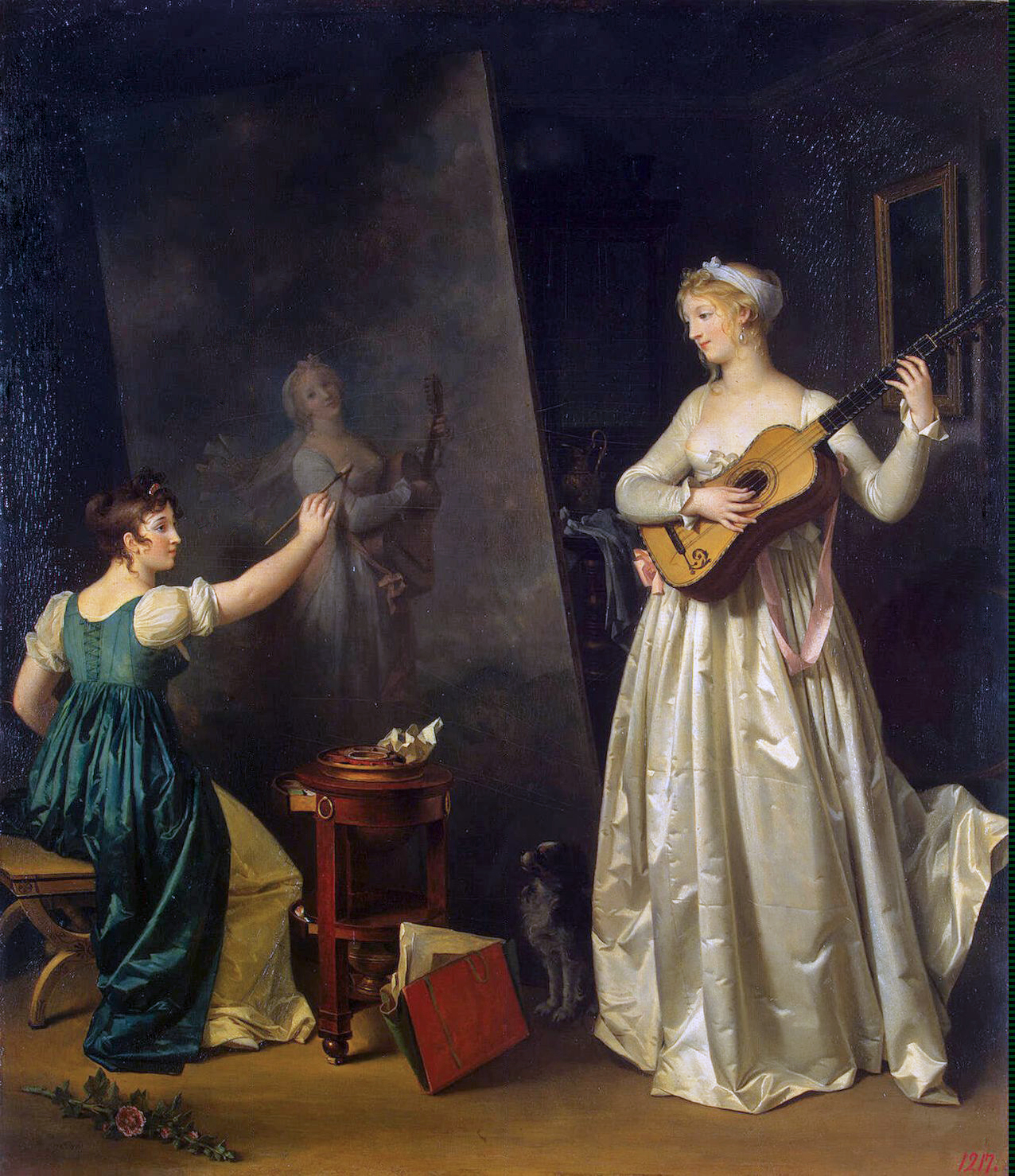 Peinture Française du 19ème Siècle: Artist Painting a Portrait of a Musician (1790-1803)