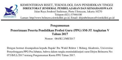 MENRISTEK DIKTI : Ketentuan Penerimaan Peserta PPG SM-3T 2017