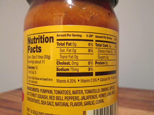Trader Joe's Fall Harvest Salsa Nutritional Facts