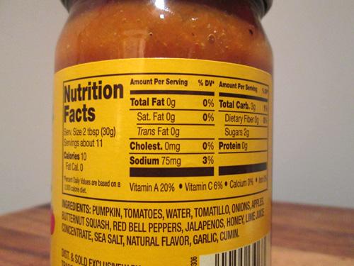 Trader Joe's Fall Harvest Salsa Nutritional Facts