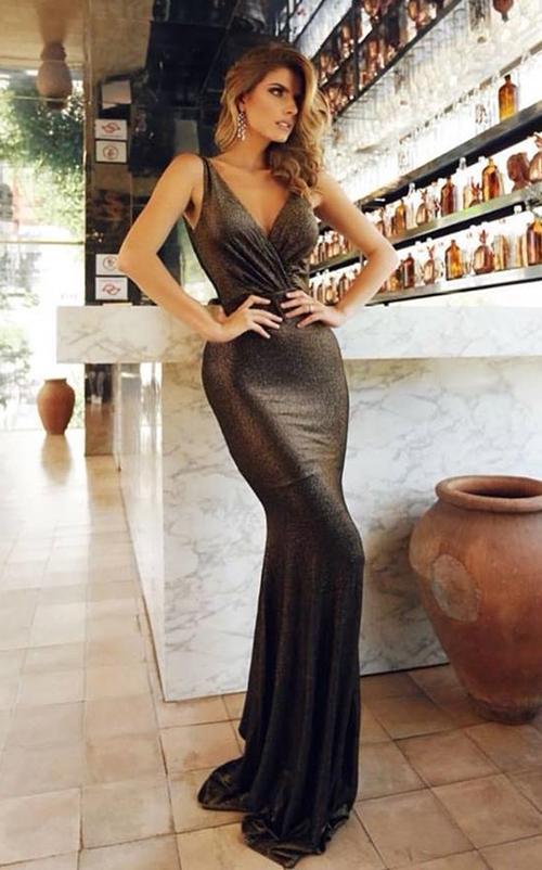 vestido longo metalizado
