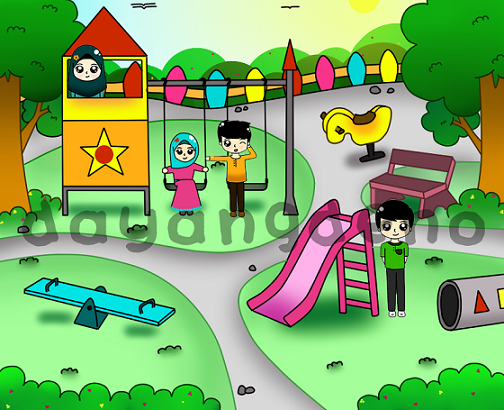 Lukisan Taman Permainan Kanak