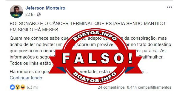 Fake News: Bolsonaro está com câncer e Mourão será o Presidente - #fake