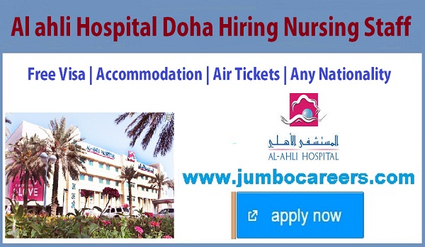 Current Doha Nursing jobs, Doha jobs with accommodation and Air ticket,