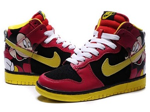 100% authentic 2e73d 3bed8 Disney Nike Dunk Mickey Mouse High Red Yellow Shoes For Women ...