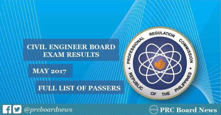 PRC releases May 2017 Civil Engineer (CE) board exam results
