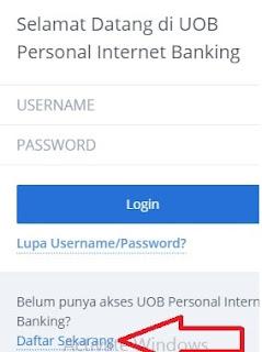 Halaman pendaftaran Internet banking UOB