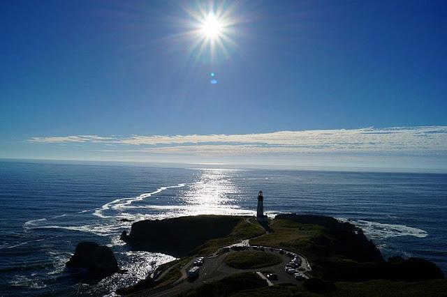 landscape of coast, lighthouse, sea at Newport Beach California