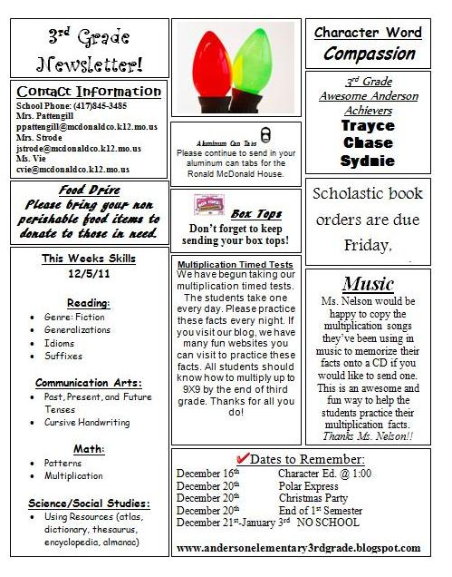 Anderson 3rd Grade: Newsletter and Homework 12/5/11