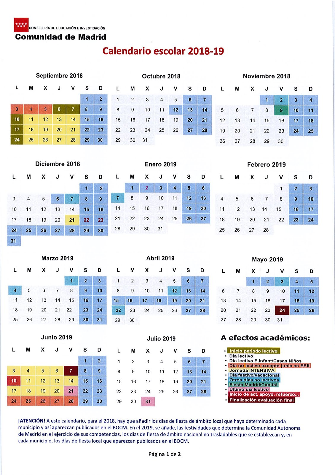 Calendario 2019 Escolar 2020 Madrid.Colegio Duque De Rivas