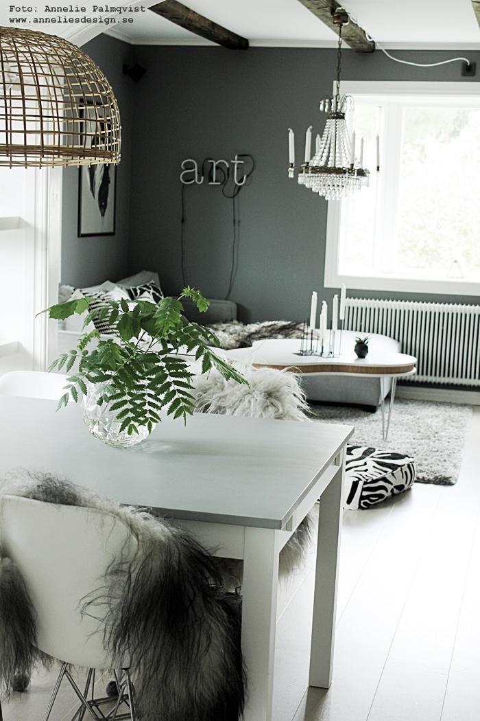 vardagsrum, vardagsrummet, grå, grått, gråa, fårskinn, isländksa fårkinn, skinn, fårfäll, fäll, svart och vitt, svartvit, svartvita, soffa, tygsoffa, matsal, westham, vit parkett, vitt golv, soffbord, treklöver, ljusstake, annelies design, webbutik, webbutiker, webshop, inredning,