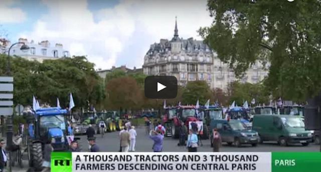 Βίντεο: 1.300 τρακτέρ μπαίνουν στο Παρίσι.. Εδώ δεν υπάρχει τροχαία;