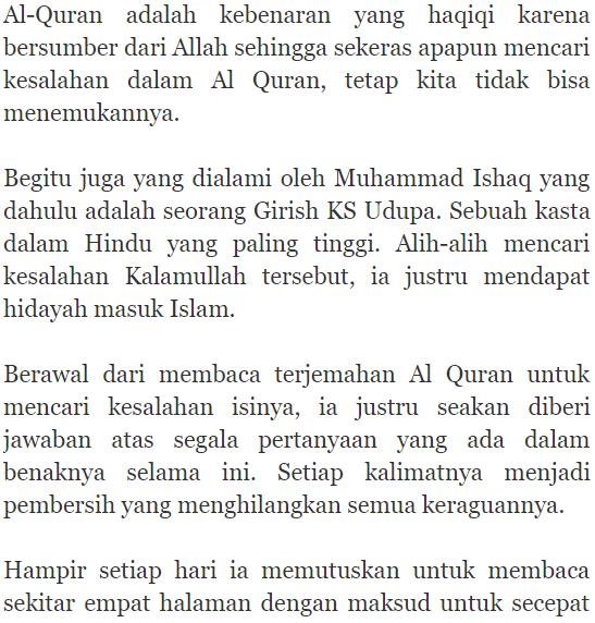 cari kesalahan dalam al quran orang hindu ini justru masuk islam