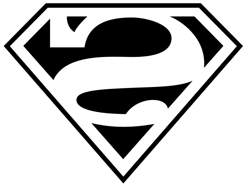 Reverse Superman logo for creating applique for DIY cape
