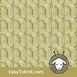 Twist Cable 25: 2/2/2 Left Purl Cross | Easy to knit #knittingstitches #knitcables