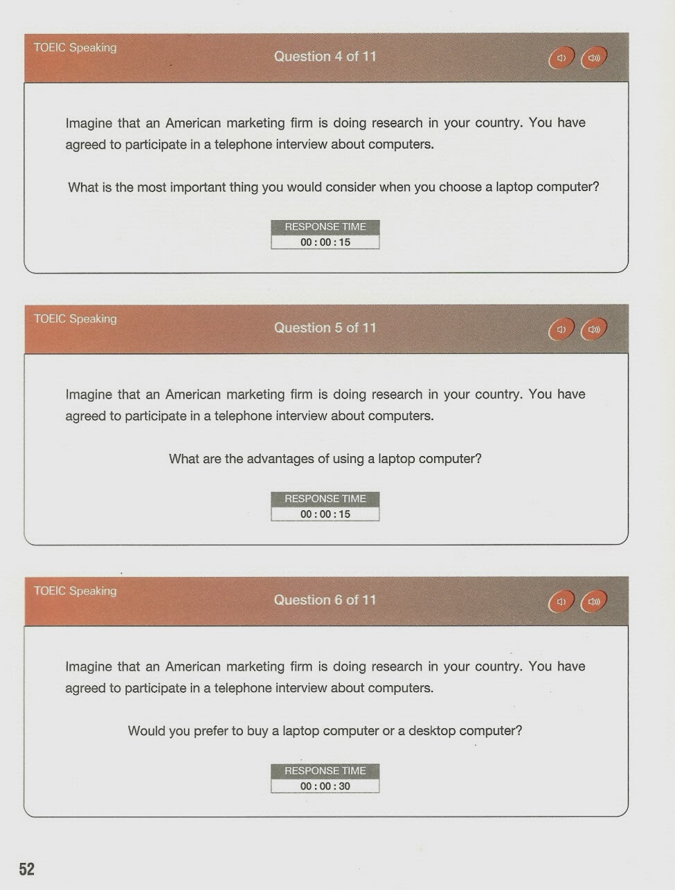 Toeic speaking test sample questions.