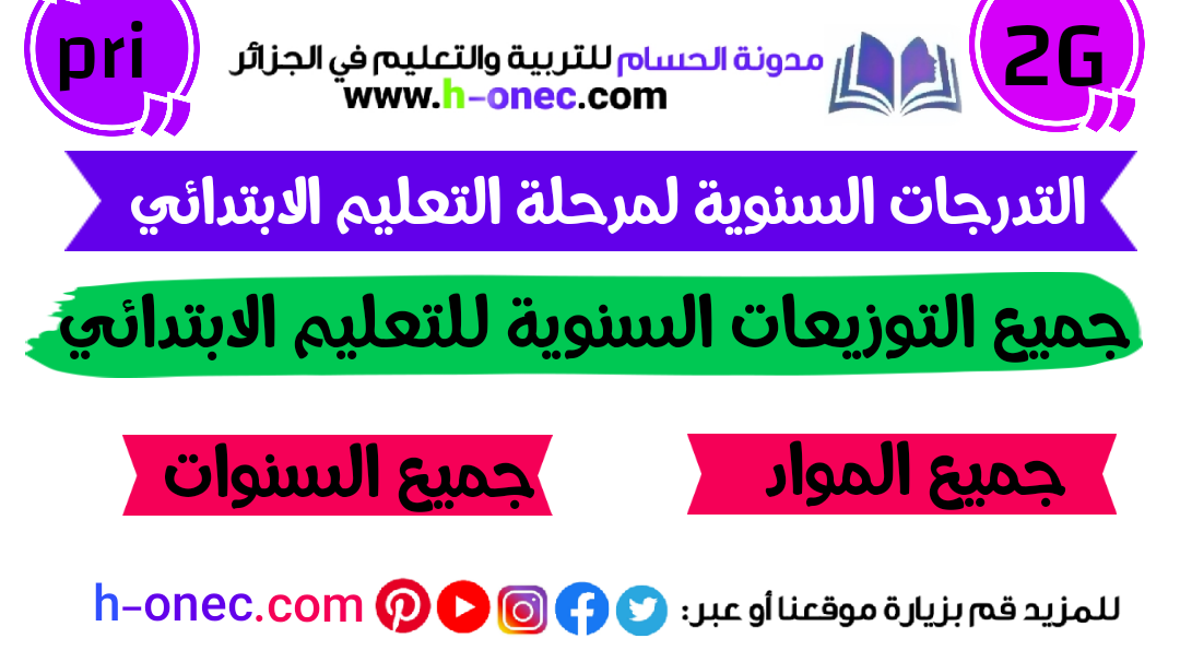 All grades and annual distributions for the first year, second, third, fourth, fifth, 1 2 3 4 5, elementary, for all subjects, according to the second generation curricula