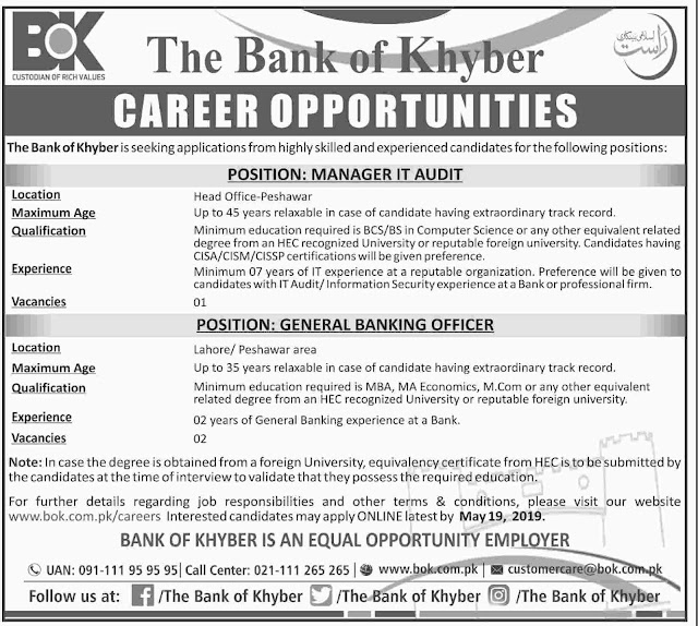 ➨ #Jobs - #Career_Opportunities - #Jobs -  Multiple Jobs at Bank of Khyber–for application visit the link