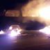 Kombi pega fogo entre Mairi e Baixa Grande