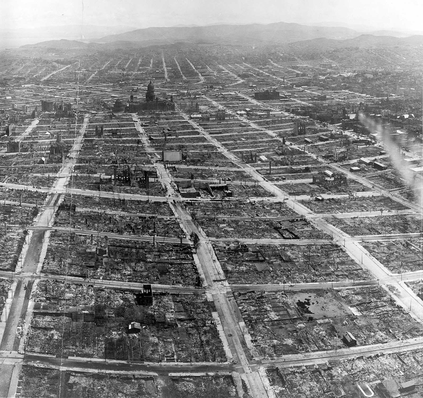 Detail of the panorama photograph of a ruined San Francisco, viewed from the Lawrence Captive Airship on May 29, 1906.