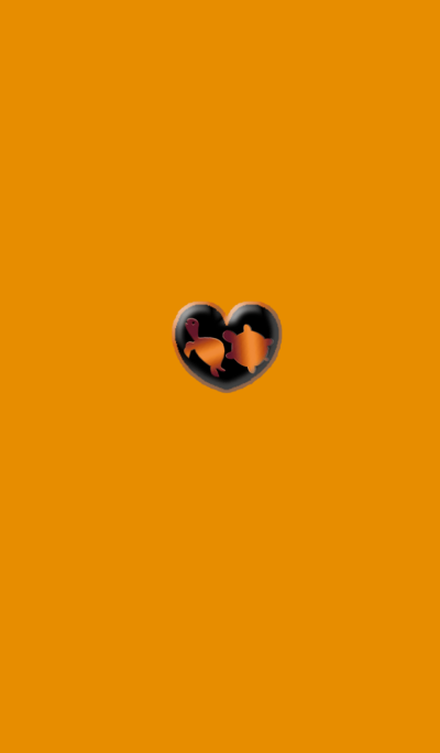 Two turtles of money luck Orange heart