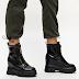 Ghete de femei moderne negre lacuite cu talpa groasa la moda 2020